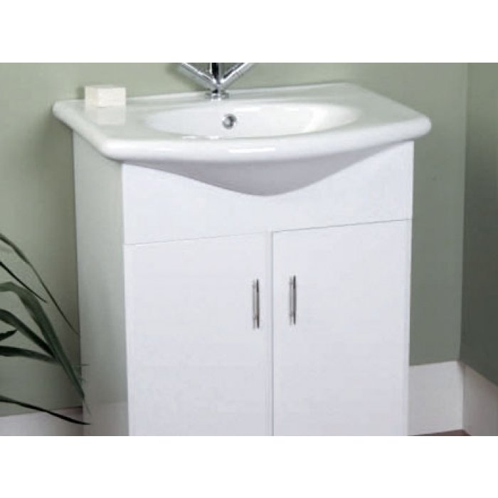 contours white vanity unit and basin 650mm by 490mm