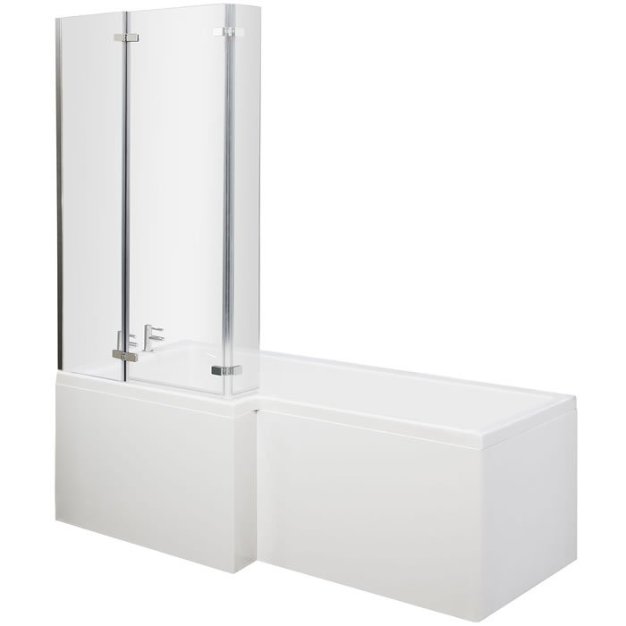 Premier Square Shower Bath with Ella Hinged Screen & Acrylic Front ...