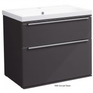 Roper Rhodes Scheme 600mm Wall Mounted Basin Unit with Double Drawers in Gloss Dark Clay SCH600D.GDC