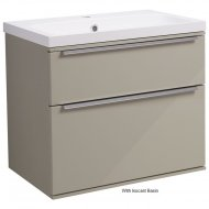 Roper Rhodes Scheme 600mm Wall Mounted Basin Unit with Double Drawers in Gloss Warm Grey SCH600D.GWG