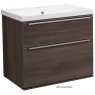 Roper Rhodes Scheme 600mm Wall Mounted Basin Unit with Double Drawers in Smoked Walnut SCH600D.SW
